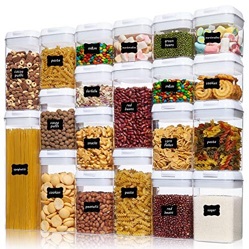 Airtight Food Storage Containers, Vtopmart 20 Pieces BPA Free Plastic Cereal Containers with Easy Lock Lids,for Kitchen Pantry Organization and Storage, Include 24 Labels