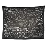 Emvency Tapestry Mandala 60x80 inch Home Decor Education Science Formulas On Chalkboard for School Math Schematic Physics Equation for Bedroom Living Room Dorm