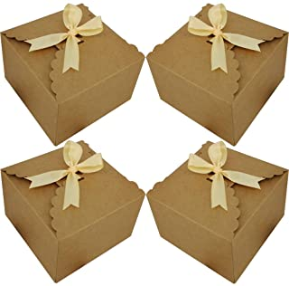 Chilly Gift Boxes, Set of 12 Decorative Treats Boxes, Cake, Cookies, Goodies, Handmade Baby Bath Bombs Shower, Small Gift Boxes for Christmas, Birthdays, Party, Weddings (Brown)