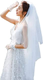 Harosy Wedding Veil Bridal Long Tulle Veil Brides Fingertip Length Hair Accessories with Metal Comb and Cute Edge 2Tier