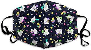Hypoallergenic Flu Dust Mouth Masks, Earloop Half Face Mask for Women Men, Travel Cycling Hip Hop Mouth-Muffle with Adjustable Elastic Band - Colorful Rainbow Unicorns