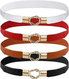 4 Pcs Women Retro Waist Belt Metal Buckle Skinny Stretchy Waist Belt for Dress (Black + Red + White + Khaki)