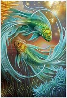 Diamond Painting Fish Diy Animal 5D Full Kits For Home Wall Decor,Crystal Rhinestone Embroidery Pictures Arts Gift,40x50cm