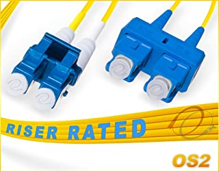 FiberCablesDirect - 8M OS2 LC SC Fiber Patch Cable | 10Gb Duplex 9/125 LC to SC Singlemode Jumper 8 Meter (26.24ft) | Length Options: 0.5M-300M | 1gb 10gb smf dup sfp 10gbase lr lx yellow ofnr sc-lc