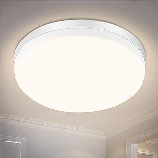 Plafonnier LED, 24W Plafonnier LED IP54 Lampe de salle de bain étanche IP54, blanc neutre 4000K, lumière 2200LM convient t...