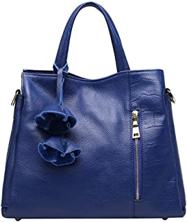 FengheYQ Simple Multi-Function Large Capacity Shoulder Bag Shoulder Slung Leather Handbag Size:33 * 13 * 26cm (Color : Blue)