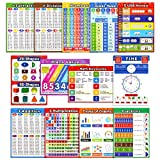 Math Educational Learning Posters,Laminated Math Charts with Tape for Children Kids Homeschool Elementary and Middle School Teach,Multiplication Table,Addition,Place Value,Shapes,Fractions (13 Pack)