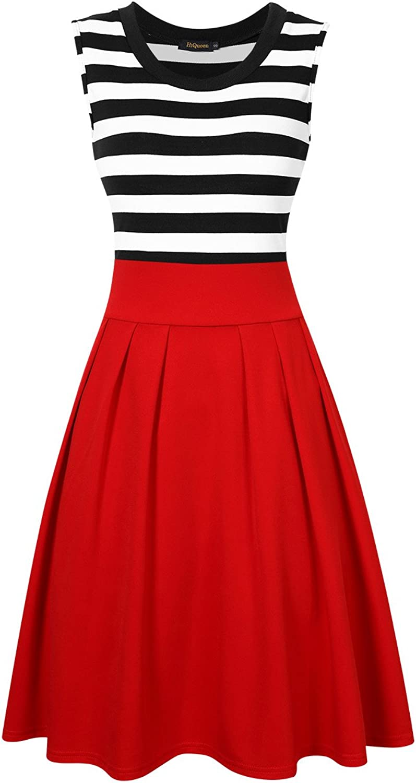 HiQueen Women's Aline Pleated Stripes Swing Cocktail Dress