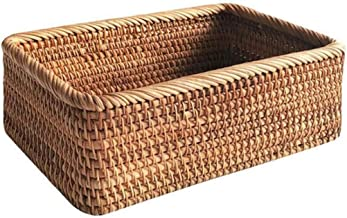 SHYPT Hand-Woven Rectangular Rattan Wicker Basket Fruit Tea Snack Bread Picnic Cosmetic Storage Box Kitchen Household Tools