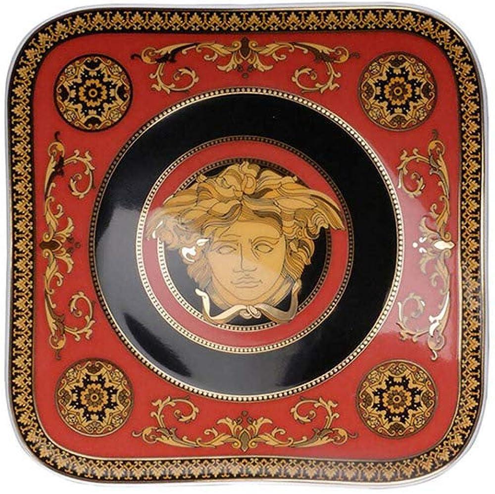 Versace, piatto quadro medusa rossa 14 cm, firmato da rosenthal versace 19750-409605-16214