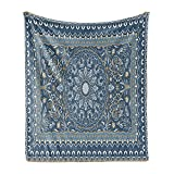 Ambesonne Antique Oriental Soft Flannel Fleece Throw Blanket, Intricate Eastern Floral Persian Like Motif, Cozy Plush for Indoor and Outdoor Use, 50' x 60', Grey Teal