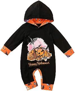 Hongyuangl Neonata Bambina Bambino My 1st Halloween Outfit T-Shirt a Maniche Lunghe con Stampa Zucca e Pagliaccetto con Tutine con Cappuccio