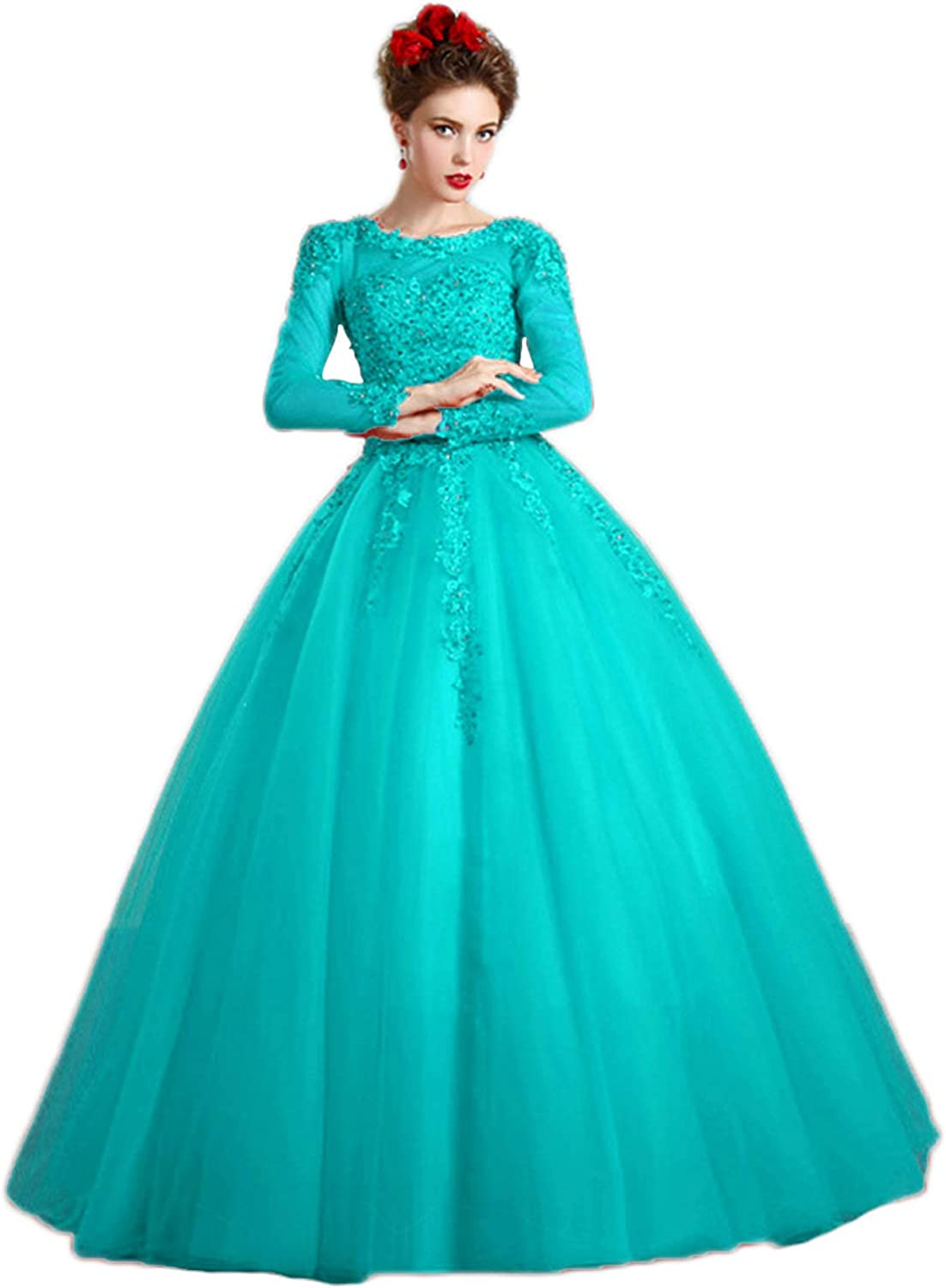 Vimans Womens Long Sleeve Quinceanera Dresses Beading Formal Evening Gown D5227