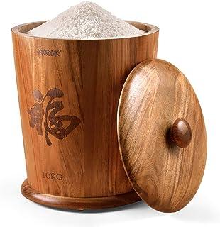 Portable en bois avec conteneur de stockage, 10KG / 15KG Rangement et organisation de cuisine domestique Étanche à l'humid...
