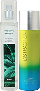 Ajmal Primitive Forests EDT of 250ml & Distraction Deodorant 200ml Combo pack of 2 (Total 450ML) for Men & Women + 4 Parfu...