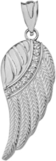 10k and 14k White Gold Feather Angel Wing Diamond Pendant