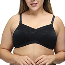 Women Plus Size Wire Free Soft Lace Bra Gather Black Breathable and Comfortable Underwear Pure Color Push Up Brassiere