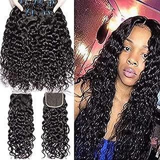10A Malaysian Water Wave Wet And Wavy Virgin Human Hair Bundles with Closure Water Wave 3 Bundles with 4x4 Lace Closure 100% Virgin Human Hair Extensions (16 18 20 with 14)