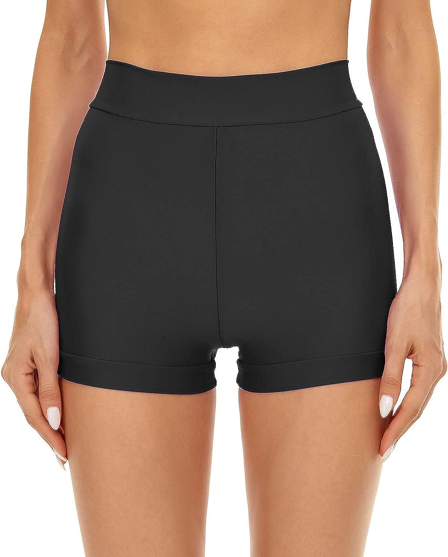 Kepblom Women's Swim Shorts High Waisted Tummy Control Bathing Suit Bottoms Boyshort Full Coverage Boardshorts Beach