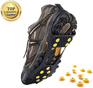 Ice Grips, Ice & Snow Grips Cleat Over Shoe/Boot Traction Cleat Rubber Spikes Crampons Anti Slip Stretch Footwear S/M/L/X-L (Extra 10 Studs)