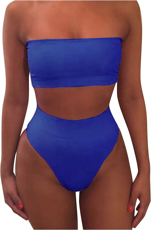 Women Sexy Bandeau Bikini Sets Retro Split Swimsuit High Waisted Bathing Suits Plus Size Beachwear