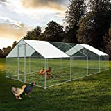 Large Chicken Coop Walk-in Metal Poultry Cage House Rabbits Habitat Cage Spire Shaped Coop with Waterproof and Anti-Ultraviolet Cover for Outdoor Backyard Farm Use (9.8' L x 26.2' W x 6.56' H)