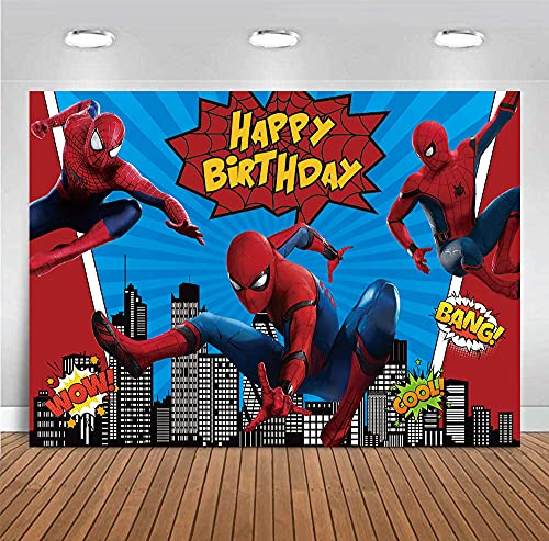 Red Spiderman Photography Backdrop for Baby Boys Happy Birthday Party Decorations Children Photo Booth Studio Props Background Superhero Cityscape Banner Dessert Table Baby Shower Supplies 5X3FT