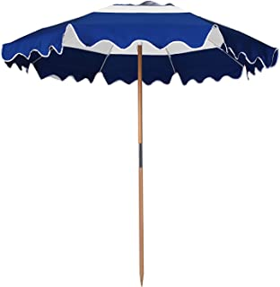 AMMSUN 7.5ft Fiberglass Ribs Commercial Grade Patio Beach Umbrella with Air- Vent Ash Wood Pole & Carry Bag Navy