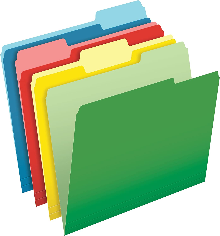 CutLess File Folders, 1 3 Cut Top Tab, Letter, Assorted, 100 Box