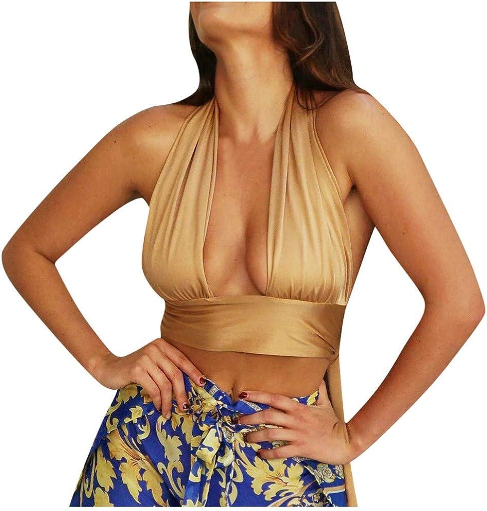 ZDFER Tank Tops for Women,Womens Crisscross Cut Out Vest Halter Wrap Crop Top Camisole Sexy Backless Bustier Corset Vest