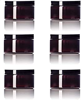 Amber 4 Oz Plastic Jar Black Lid - Pack of 6