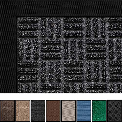 """Large Outdoor Door Mats Rubber Shoes Scraper 36"""" x 24"""" for Front Door Entrance Outside Doormat Patio Rug Dirt Debris Mud Trapper Waterproof Indoor Door Mat Inside Low Profile Washable Carpet Dark Grey"""