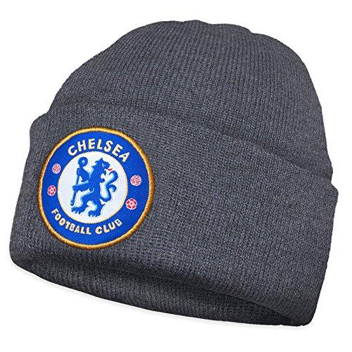 Chelsea FC - Kinder Beanie Strickmütze mit Vereinswappen - Offizielles Merchandise - Grau - Einheitsgröße