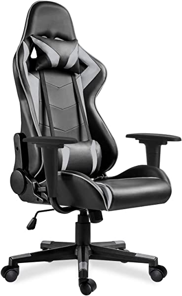 MIERES Video Gaming Chair Racing Office PU Leather High Back Ergonomic 175 Degree Adjustable Swivel Executive Computer Desk Task Large Size Headrest And Lumbar Support Gray