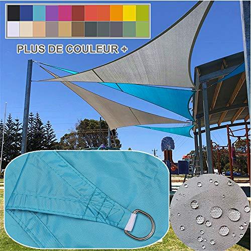 4x4x4m / lac bleu, Voile d'ombrage Impermeable Triangulaire, polyester déparlent Matière 95% anti UV, Abri Voiture de Pergola pour Patio Extérieur, Jardin, Serre, Terrasse et Camping Toile d'ombrage