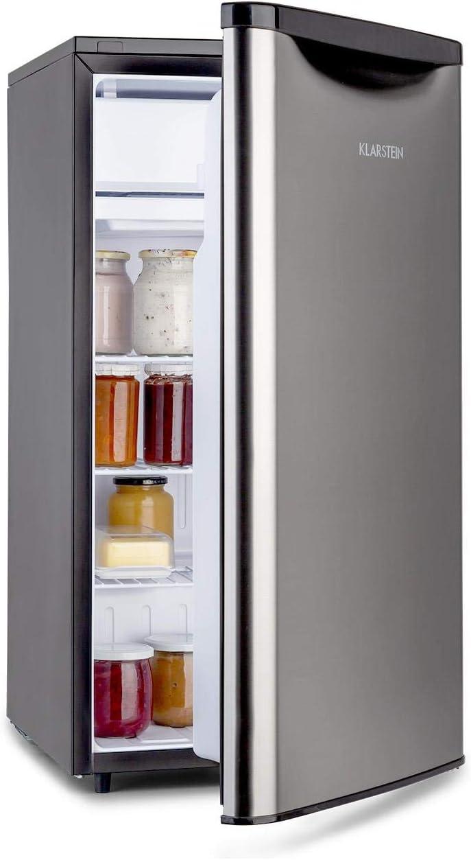 Klarstein Yummy - Nevera, Descongelación semi-automática, EEC F, Nivel ruido 41 dB, Congelador hasta -3 °C, Revestimiento cromado, 45 x 85 x 48 cm, Capacidad de 90 Litros, Plateado