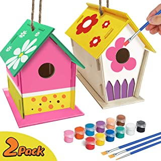 ORIENTAL CHERRY Crafts for Kids Ages 4-8 - 2Pack DIY Bird House Kit - Build and Paint Birdhouse(Includes Paints & Brushes) Wooden Arts for Girls Boys Toddlers Ages 3-5 8-12