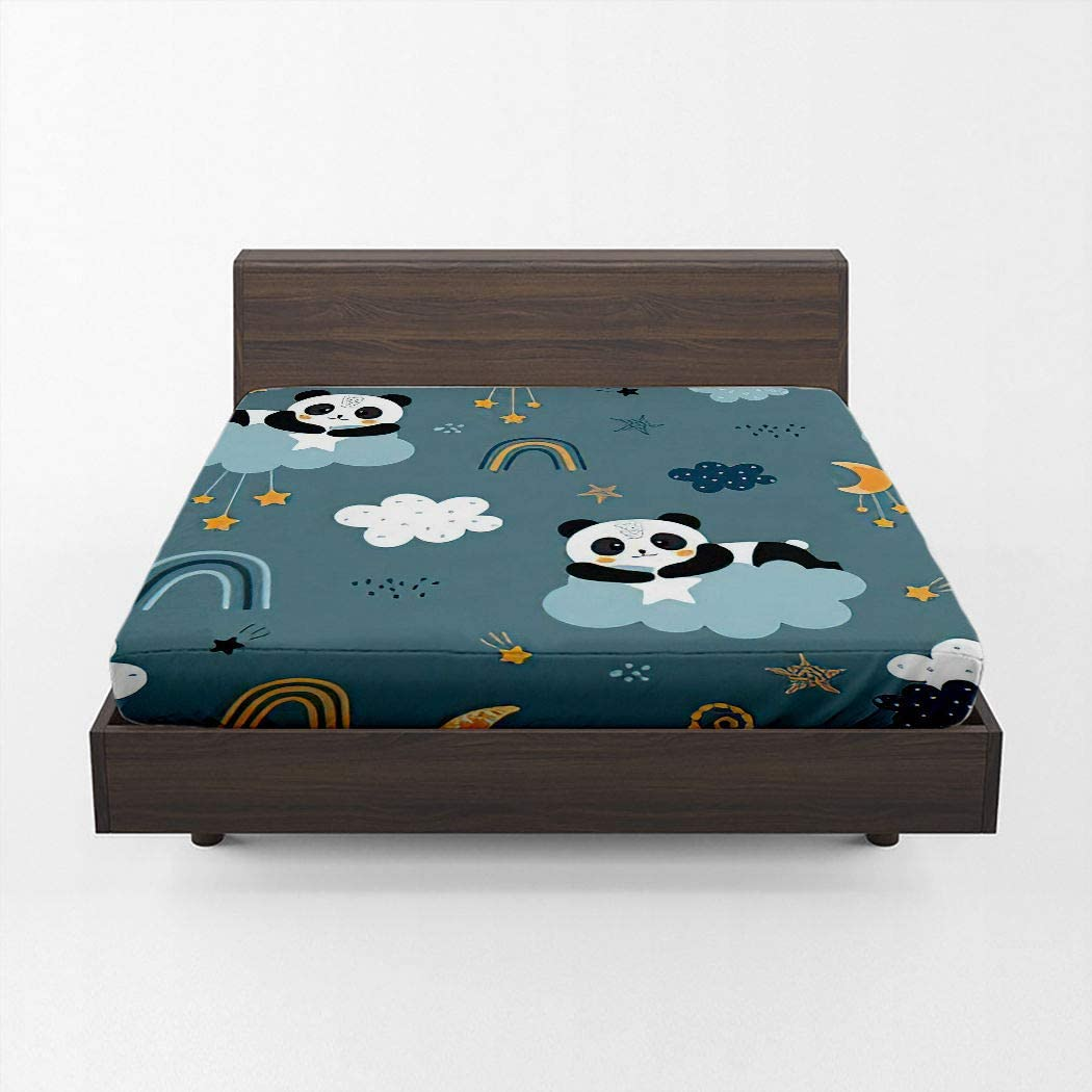 Huipaya Panda Fitted Sheet Cute Clouds Rainbow Hear Stars Shipping included 70% OFF Outlet