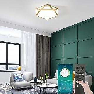 Smart LED Golden Ceiling Light, Hexagon Modern LED Flush Mount Flat Ceiling Light with BT Wireless Smart Home APP Remote C...
