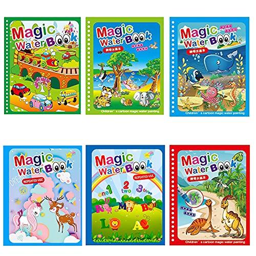 Kaimeilai Libro para colorear con agua de 6 piezas, juego de libros mágicos para colorear, libro para niños, libro para colorear con diseño de dinosaurios y lápices mágicos, ideal para niños pequeños