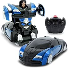 Family Smiles Kids RC Wall Climbing Toy Transforming Robot Remote Control Vehicle 1/24 Scale High-Speed Drifting Toy for Boys (Blue)