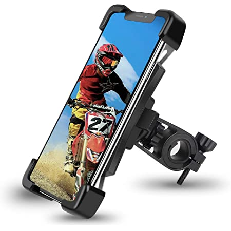 "Pioneeryao Bike Phone Mount, Universal Adjustable Bicycle Motorcycle Phone Mount Holder Mountain Bike Road Bike Accessories for Phone 11 / Phone 11 Pro Max, S9, S10 and Most 4.5""-7.2"" Smart Phones"