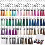 Duufin 120 Piezas Colgantes de Borlas de Cuero y Anillas Abiertas para Clave Cadena DIY Accesorios, 30 Colores