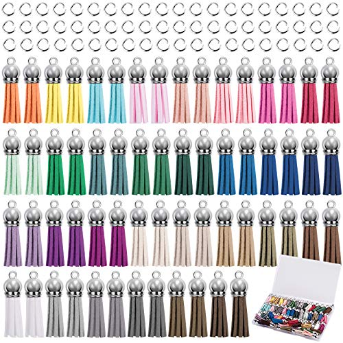 Duufin 120 Stück Quasten Anhänger und Biegeringen Kit mit 60 Stück Quasten Anhänger Leder 60 Stück Biegeringen für DIY Schlüsselbund Taschen Armband, 30 Farben