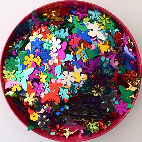 usausaのお店 【アウトレット商品】カラフルスパンコール ミックス 花形・ちょうちょ/Flower,Butterfly (約...