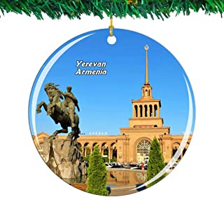 Weekino Yerevan Armenia Christmas Ornament City Travel Souvenir Collection Double Sided Porcelain 2.85 Inch Hanging Tree Decoration