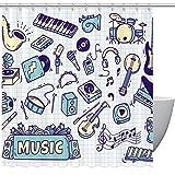 Cortina de ducha con ganchos, diseño de guitarra de instrumento de música y piano, impermeable, divertida con tamaño estándar 72 por 72