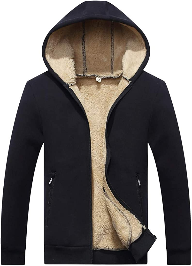 Boy's Winter Warm Fleeced Lining Down Thicken Cardigan Hooded Sweaters Black 3XL