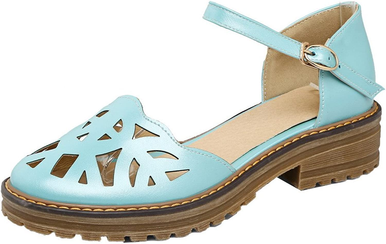 WeenFashion Women's Buckle Low-Heels PU Solid Round-Toe Sandals, CA18LB04180