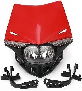 JFG RACING S2 12V 35W Universal Motorcycle Headlight Head Lamp Led Lights For For Honda Dirt Pit Bike ATV - Red
